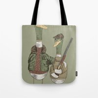 hunting Tote Bags featuring Hunting Ducks by David Fleck