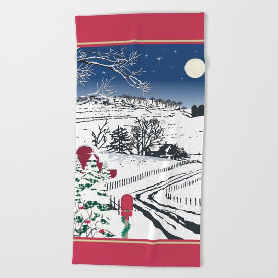 Silent Winter Night Silhouette Beach Towel
