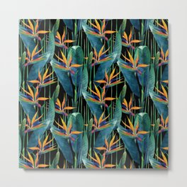 Watercolor Painting Tropical Bird of Paradise Plants Metal Print