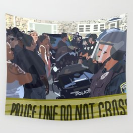 Police Standoff Wall Tapestry