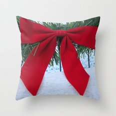 Red Bow for Christmas Throw Pillow