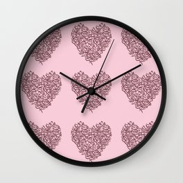 small harts arabic letters pink and red Wall Clock