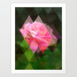 Pink Roses in Anzures 3 Art Triangles 1 Art Print