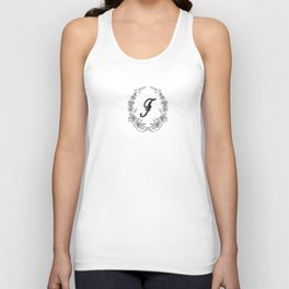 the letter F in a leaves and flowers . Art Unisex Tank Top