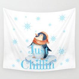Just chillin penguin Wall Tapestry