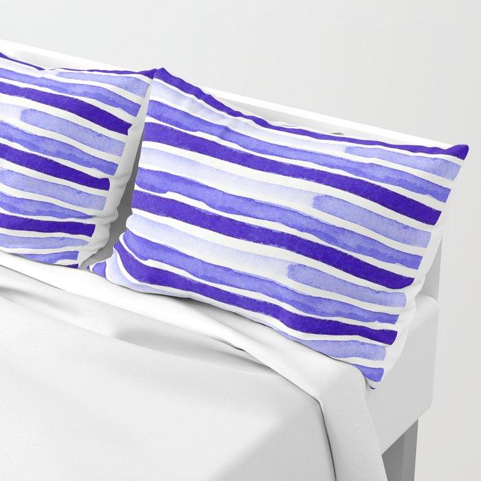 Ultra Violet Watercolour Stripes Pillow Sham
