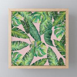 Jungle Leaves, Banana, Monstera Pink #society6 Framed Mini Art Print