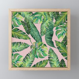 Jungle Leaves, Banana, Monstera Pink #society6 Framed Mini Art Print