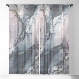 Blush, Navy and Gray Abstract Calm Clouds Sheer Curtain