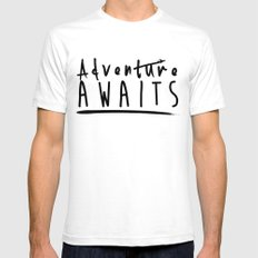 Adventure awaits White SMALL Mens Fitted Tee