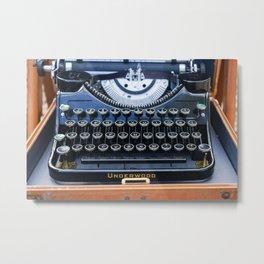 Vintage Typewriter in Wooden Case Metal Print