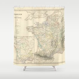 Vintage Map - Spruner-Menke Handatlas (1880) - 53 France and its Church Divisions before 1322 Shower Curtain