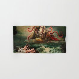 Remarkable neoclassical battle: Squid vs Whale vs 18 century American armed cargo ship Hand & Bath Towel