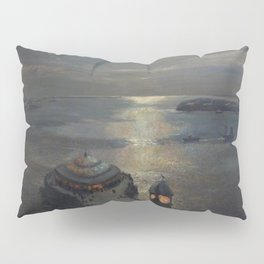 Plymouth Sound by Moonlight and Searchlight coastal nautical landscape painting by Julius Olsson Pillow Sham