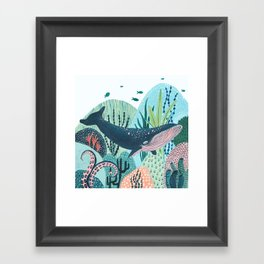 Happy Blue Whale Framed Art Print