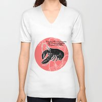 lobster V-neck T-shirts featuring lobster by Isabella Asratyan