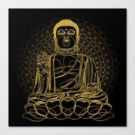 Golden Buddha on Black Canvas Print