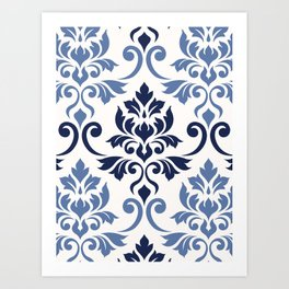 Feuille Damask Pattern Blues on Cream Art Print