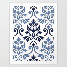 Feuille Damask Pattern Blues on Cream Art Print