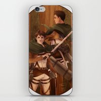 attack on titan iPhone & iPod Skins featuring Haikyuu!! Attack on Titan Crossover: Oikawa and Iwaizumi by JBadgr
