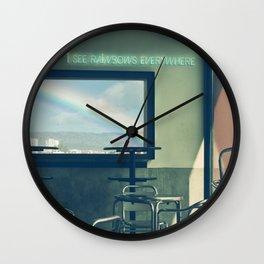 I See Rainbows Everywhere [neon version] Wall Clock