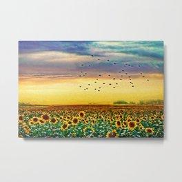 Golden Sunflower Field | Painting Metal Print