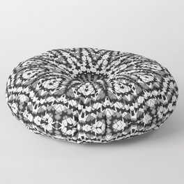 Abstract mosaic pattern .Black and white kaleidoscope . Floor Pillow