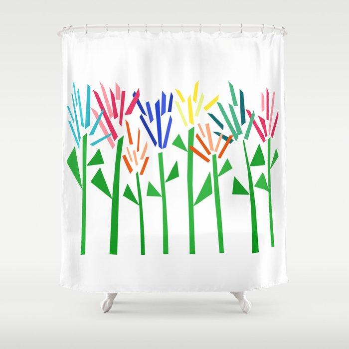 Tropical Rainbow Collage by Emma Freeman Shower Curtain
