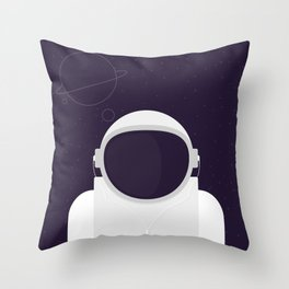 Astronaut is listening music Throw Pillow