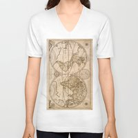 maps V-neck T-shirts featuring Old Maps by tanduksapi