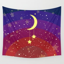 The new crescent on a rainbow sky Wall Tapestry