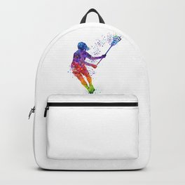 Lacrosse Girl Colorful Watercolor Sports Art Gift Backpack