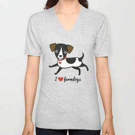 I love farmdogs Unisex V-Neck
