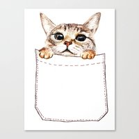 pocket Canvas Prints featuring Pocket cat by Anna Shell