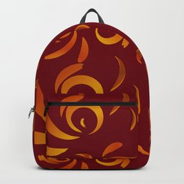 Pattern of red doodles and curls in floral ornament in ethnic style on claret background. Backpack