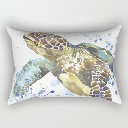 Abstract Watercolor Sea Turtle on White 2 Minimalist Coastal Art - Coast - Sea - Beach - Shore Rectangular Pillow