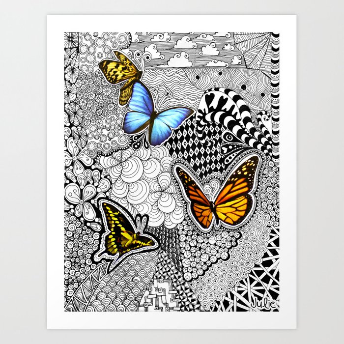 Tangled Butterfly Art Print by julieerindesigns | Society6