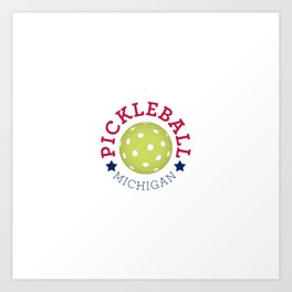 Michigan Pickleball - Red, White, and Blue Art Print