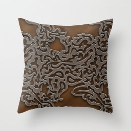Floral embossing - copper Throw Pillow