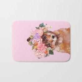 Baby fox with Flower Crown Bath Mat
