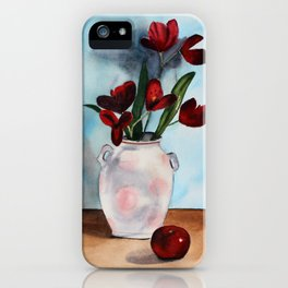 Still life with red flowers and apple iPhone Case