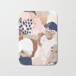 Sonia - rose gold navy copper modern abstract rosegold trendy pattern cell phone accessories Bath Mat