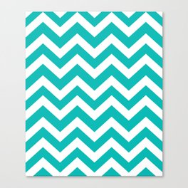 Tiffany Blue - blue color - Zigzag Chevron Pattern Canvas Print