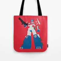 optimus prime Tote Bags featuring Transformers G1 - Optimus Prime by TracingHorses