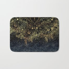 Stylish Gold floral mandala and confetti Bath Mat