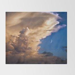 Clouds, Birds, Moon, Venus Throw Blanket