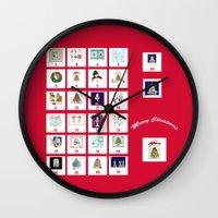 calendar Wall Clocks featuring Christmas Advent Calendar Print by KarenHarveyCox