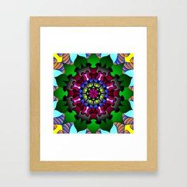 Floral doodle mandala Framed Art Print