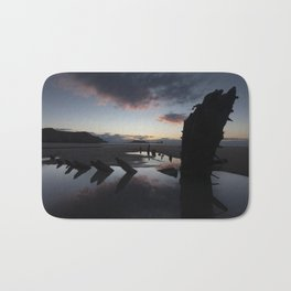 Sunset over the Helvetia at Rhossili Bay Bath Mat