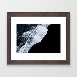 Waves crashing on a black sand beach – minimalist Landscape Photography Framed Art Print